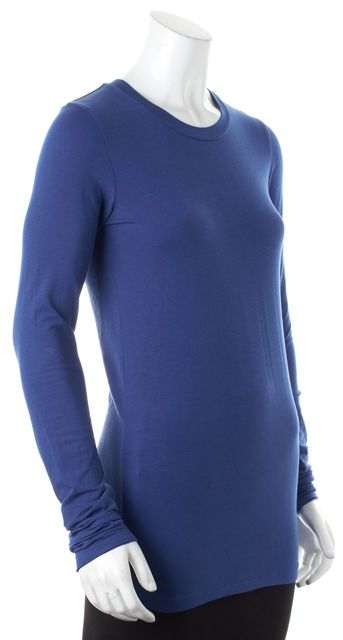 THEORY Blue Stretch Cotton Jersey Long Sleeve Tee T-Shirt Top
