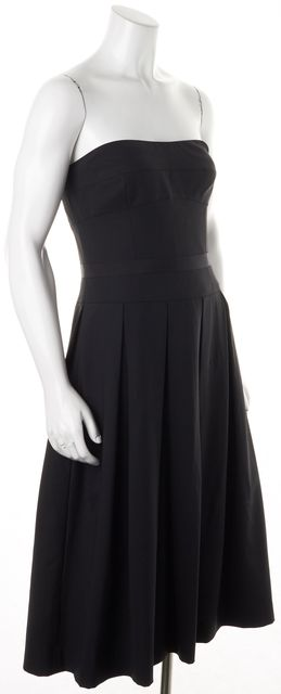 THEORY Black Wool Strapless Pleated Fit Flare Dress