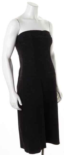 THEORY Black Suede Leather Strapless Sheath Dress