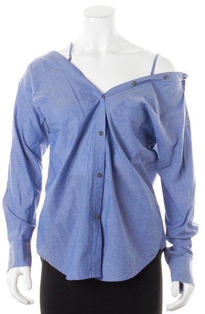 THEORY Blue Chambray Tamalee Off Shoulder Button Down Blouse