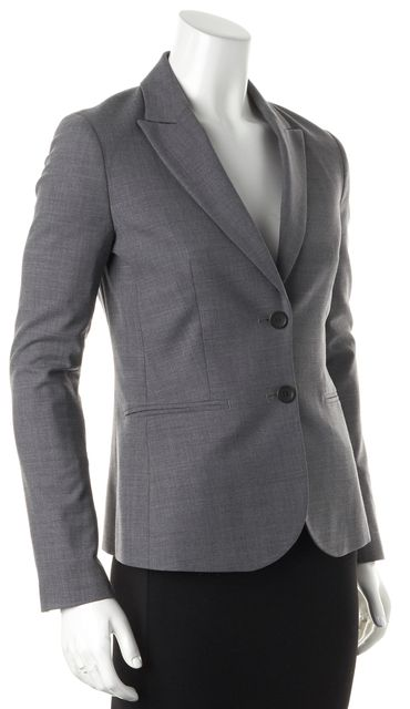 THEORY Gray Wool Double Button Pocket Front Nichelle Blazer