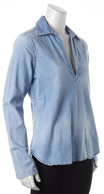 THEORY Blue Light Wash Denim Long Sleeve V-Neck Tunic Top