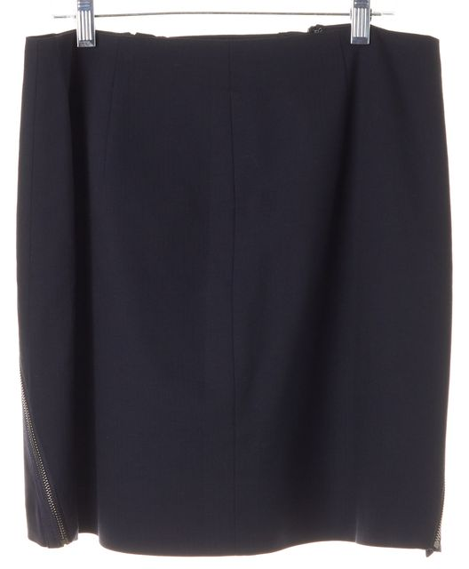 THEORY Navy Blue Wool Zipper Trim Seneca Greenpoint A-Line Skirt