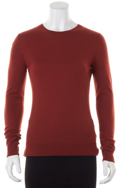 THEORY Dark Clay Red Wool Tommie Light Crewneck Sweater