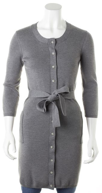 THEORY Gray Wool Ribbed Belted Ford Steady Cardigan