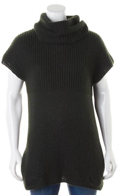 THEORY Forest Green Wool Cashmere Chunky Knit Turtleneck Sweater w Pockets