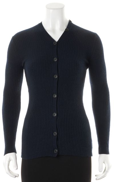 THEORY Navy Blue Ribbed Cashmere Dorcy Button Down Cardigan
