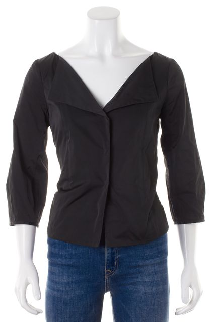 THEORY Black Solid Belted Structured Long Sleeve Button Down Shirt