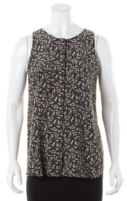 THEORY Brown Gray Abstract Silk Sleeveless Semine Blouse Top