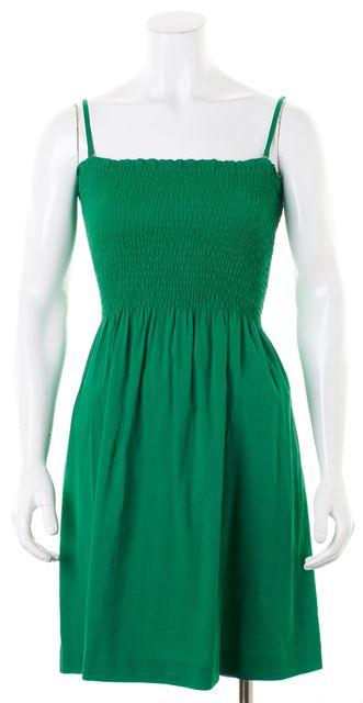 THEORY Grass Green Linen Spaghetti Strap Kiparee Fit & Flare Dress