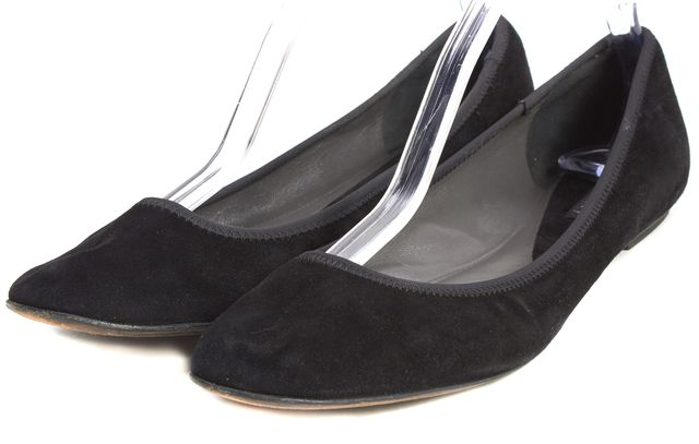 THEORY Black Suede Leather Ballet Flats