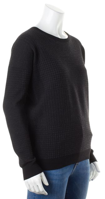 THEORY Black Gray Houndstooth Wool Tollie P Crewneck Sweater