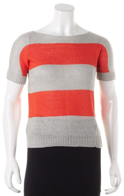 THEORY Gray Orange Striped Linen Short Sleeve Aislie Knit Top
