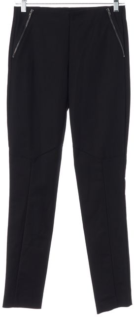THEORY Black Cropped Zipper Detail Keil Stretch Dress Pants