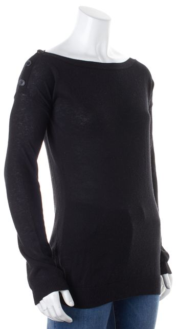 THEORY Black Solid Cotton Cashmere Blend Side Button Knit Top