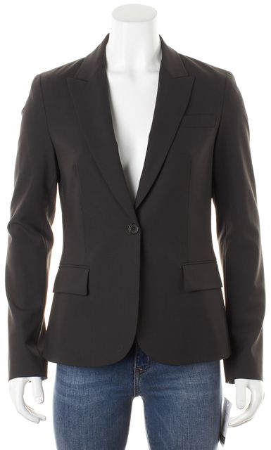 THEORY Brown Wool Pocket Front Single Button Blazer