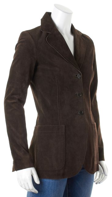 THEORY Brown Suede Leather Three-Button Blazer Jacket