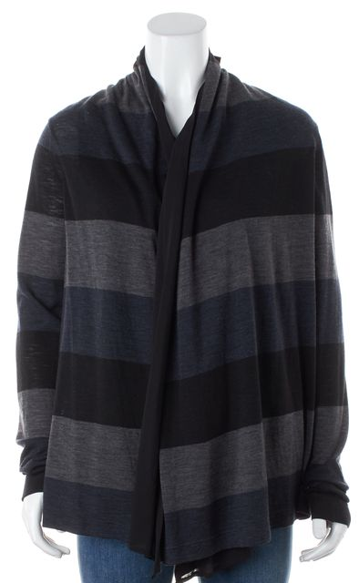 THEORY Black Blue Gray Striped Wool Open Tracey Cardigan