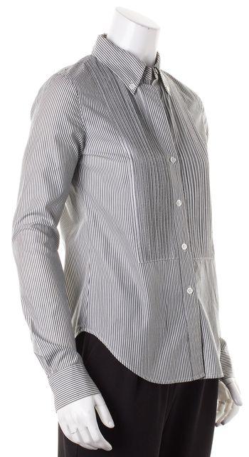 THEORY Green White Striped Button Down Shirt Top