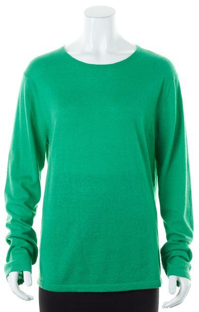 THEORY Garden Green Cashmere Cotton Thin Knit Varda Crewneck Sweater
