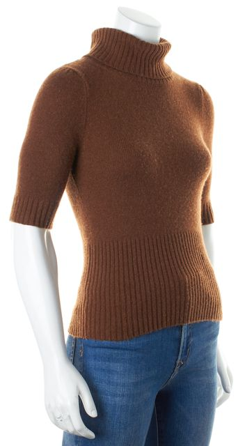 THEORY Brown Cashmere Short Sleeve Cornelia Turtleneck Sweater