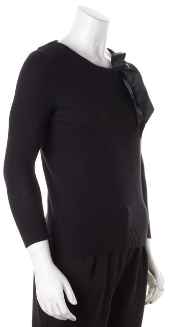 THEORY Black Silk Cashmere Knit Bow Tie Crewneck Sweater