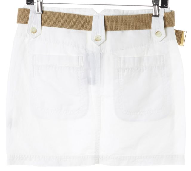 THEORY White Linen Belted Mini Skirt