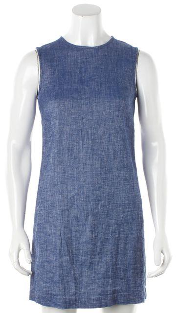 THEORY Blue Stretch Linen Chambray Sleeveless Adraya Shift Mini Dress