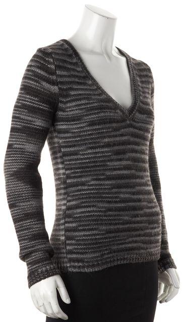 THEORY Gray Striped Alpaca Knit V-Neck Sweater