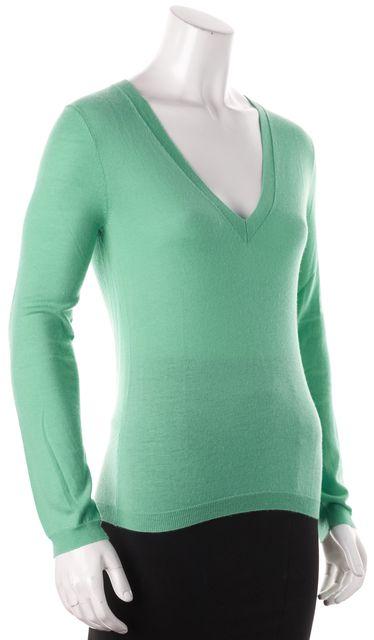 THEORY Green Knit V-Neck Long Sleeve Top