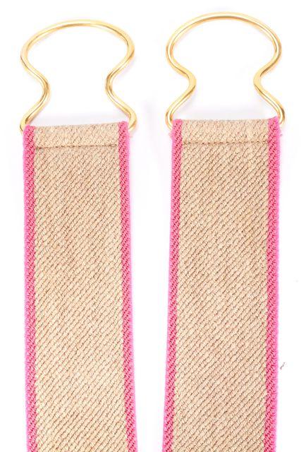 THEORY Beige Pink Trim Stretch Jute Canvas Gold-Tone Hardware Wide Belt