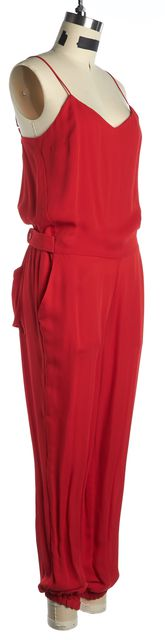THEORY Red Semi-Sheer Silk Spaghetti Straps Stassia Blouson Jumpsuit