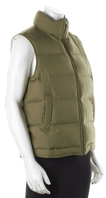THEORY Green Puffer Vest Outerwear