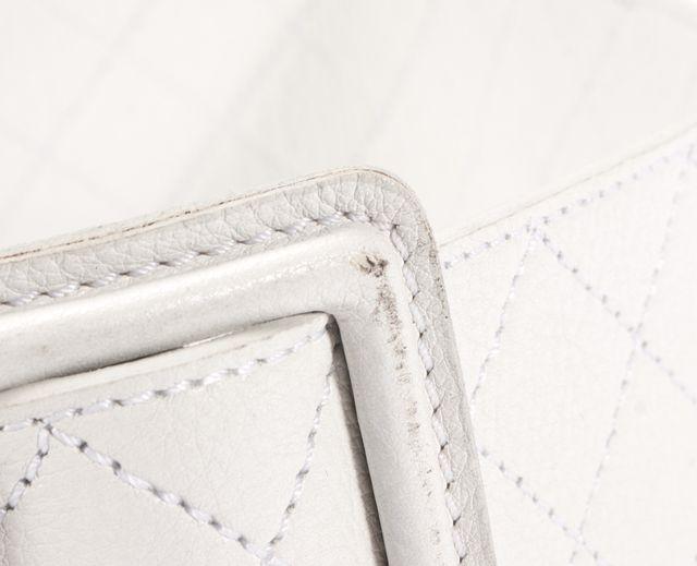 THEORY White Argyle Diamond Leather Medium-Wide Belt