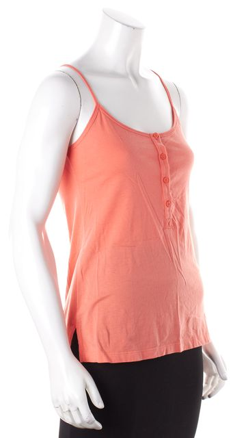 THEORY Salmon Pink 1/4 Button Up Cami Tank Top