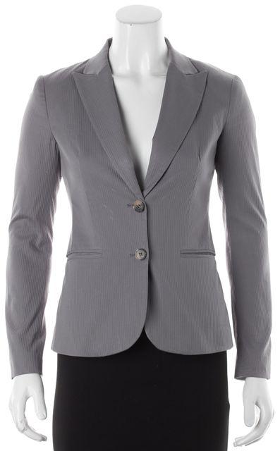THEORY Gray Ribbed Long Sleeve Blazer