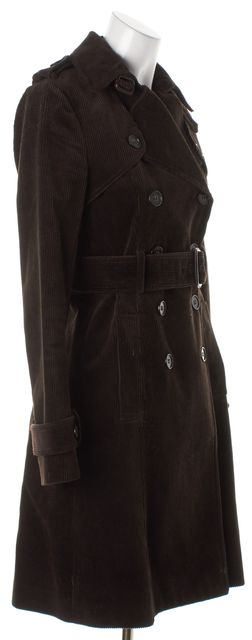 THEORY Brown Belted Corduroy Double Breasted Trench Coat