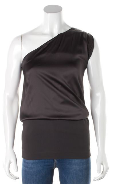THEORY Dark Gray Silk Sharin Off the Shoulder Side Zip Pull On Blouse