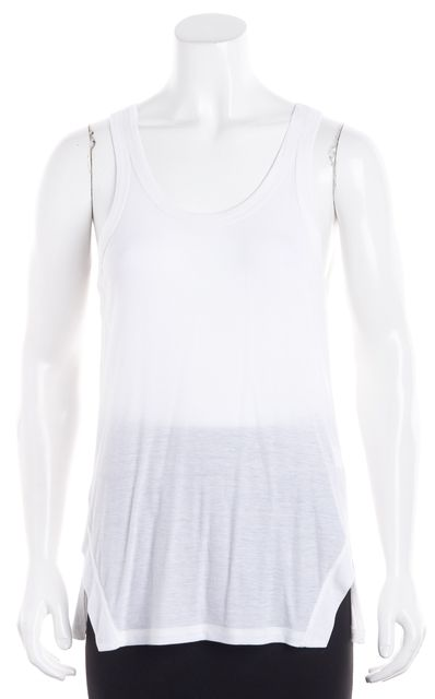 THEORY White Ribbed Front Jersey Sleeveless Side-Slits Tank Top
