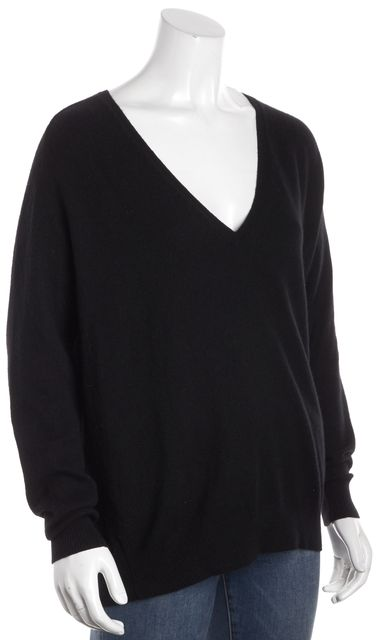 THEORY Black Deep V-Neck Oversized Sweater
