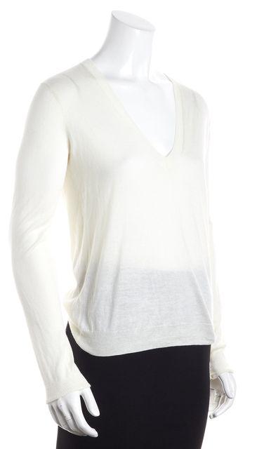 THEORY IvoryV-Neck Long Sleeve Sweater