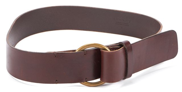 THEORY Brown Wide Leather Belt Gold Hardware
