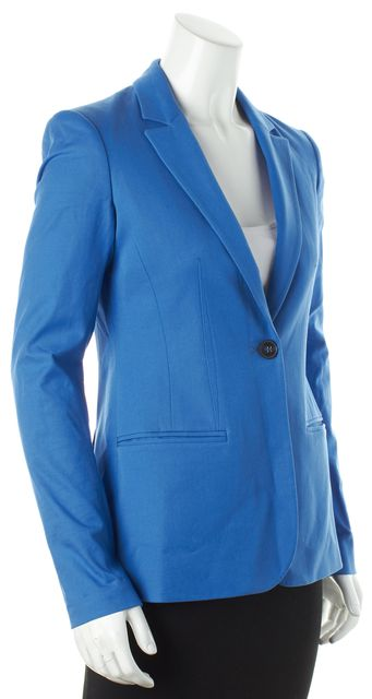 THEORY Royal Blue Long Sleeve Two Pocket One Button Single Breast Blazer