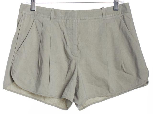 THEORY Green Linen Casual Shorts