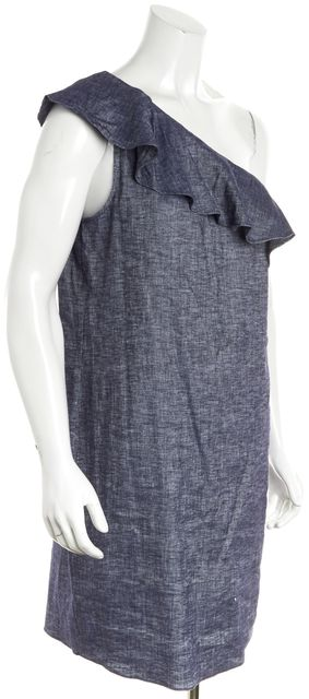 THEORY Blue Chambray Linen Alexanda Ruffle One Shoulder Dress