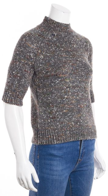 THEORY Gray Marled Multi-Color Mock Neck Short Sleeve Sweater