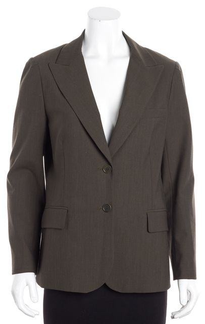 THEORY Brown Wool Two Button Up Detail Career Blazer