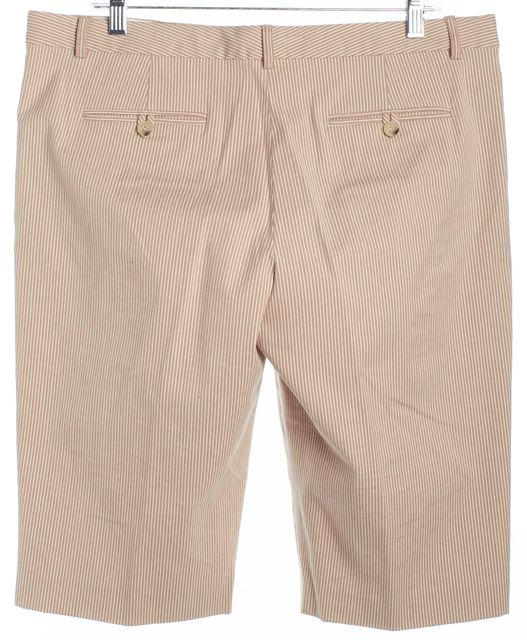 THEORY Beige and White Striped Long Bermuda Shorts