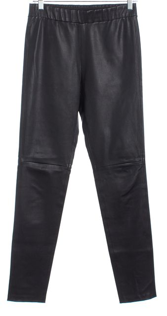 THEORY Black Lamb Leather Stretch Waist Skinny Leggings Pants