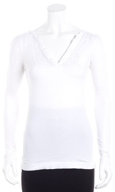 THEORY White Embroidered Lace Detailed Trim V-Neck Knit Top